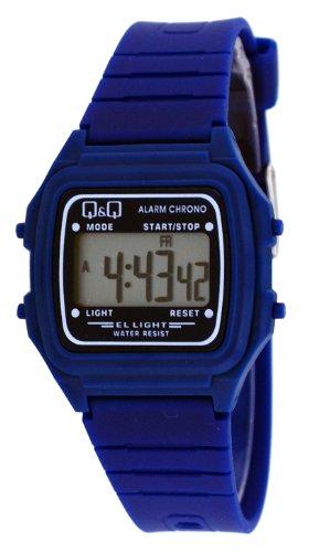 Q&Q #L116J008Y Unisex Colorful Navy Blue Alarm Chrono Lcd Digital Watch