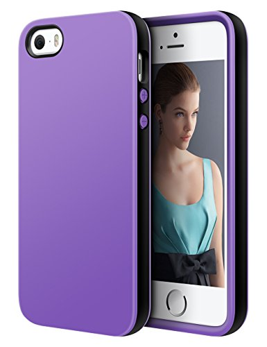 iPhone 5S Case,iPhone SE Case,Dmix Cute Apple Protective Case Soft Bumper Cases Shockproof Hybird Rubber Slim Case Anti-scratch Shell Dual Color TPU Back Cover for iPhone 5S SE 5 (Black/Purple) (Cute Iphone 5s Bumper Cases compare prices)