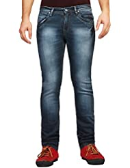 FN Jeans Stylish Navy Blue Slim Fit Low Rise Stone Wash Denim For Men | FNJ9159