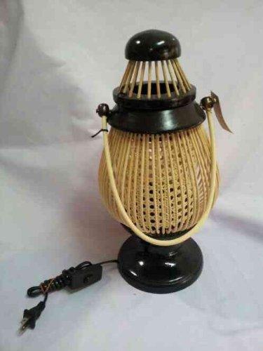 Vintage Teak Handcraft Lanna Traditional Outdoor Lamp Table Lamp Floor Lamp Rattan Holder. front-504321