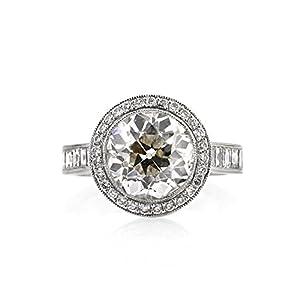 Mark Broumand 7.09ct Antique European Round Cut Diamond Engagement Ring