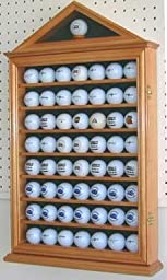 57 Golf Ball Display Case Cabinet, Novelty Gift, OAK Finish