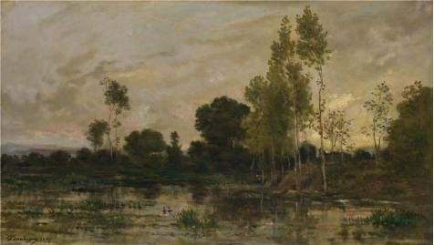The Perfect Effect Canvas Of Oil Painting 'Charles-Franois Daubigny - Alders,1872' ,size: 30x53 Inch / 76x135 Cm ,this Vivid Art Decorative Prints On Canvas Is Fit For Home Theater Decor And Home Gallery Art And Gifts
