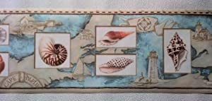 Wallpaper Border Nautical Map Sea Shells & Lighthouses Peach, Blue on Tan, Home Improvement Tool from Rolling-Borders