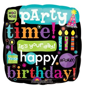 "Party Time ""Happy Birthday"" 18"" foil balloon"