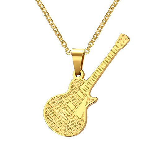 Golden Guitar Music Lover Unique Melody Music Gold Plated Necklace (Pan Am Badge compare prices)