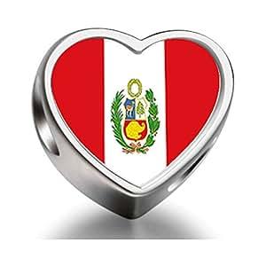 Amazon.com: Peru flag Heart Photo Charm Beads: Jewelry