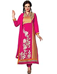 Aarti Lifestyle Women's Banarsi Chanderi Cotton Hand Work Pink Churidar Suit - B015MXJPUA