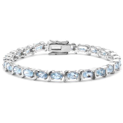Blue Topaz Tennis Bracelet, Silver, 19cm Length, Model 8.22.4952