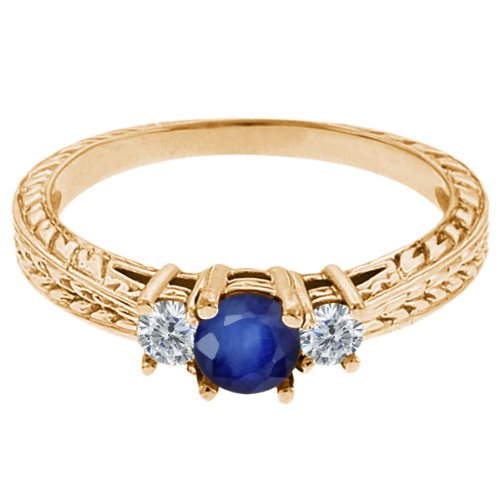 0.60 Ct Round Blue Sapphire G/H Diamond 14K Yellow Gold 3-Stone Ring