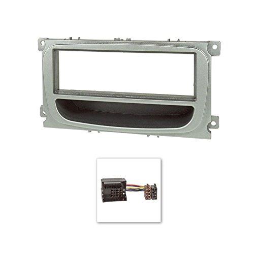 Radioblende-Set-Ford-Focus-2-Mondeo-S-Max-C-Max-Galaxy-Kuga-silber-mit-Ablagefach