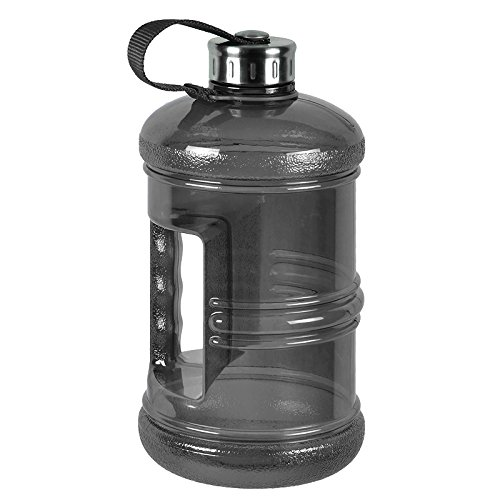 2.3 Liter BPA Free Reusable Plastic Drinking Water Bottle Jug Container w/ Hand Holder Canteen and with Stainless Steel Cap - Black (Body Building Water Bottles compare prices)