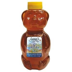 Wildflower Honey Bear Bottle, 12 oz - Grade A, Natural, Raw Honey - by Anna's Honey (Pack of 4)