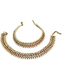 Glittering World Designer Light Pink Stone And Pearl Alloy Crystal Anklets For Women