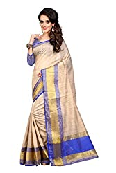 Fabcart Blue And Beige Poly Cotton Saree with Blouse Piece