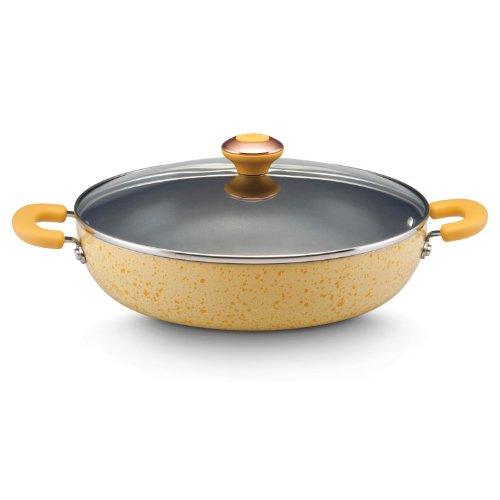 Paula Deen Signature Porcelain Nonstick 12-Inch Covered Chicken Deep Fryer, Butter Speckle (Paula Deen Yellow Cookware Set compare prices)