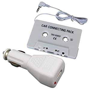 Everydaysource Car Tape Cassette Adapter + Charger Compatible With iPod iPhone® Touch