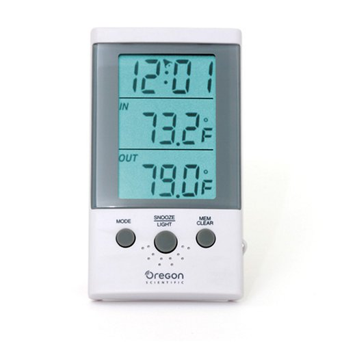 Oregon Scientific THT312 Indoor/Outdoor Thermometer Clock with Wired Probe