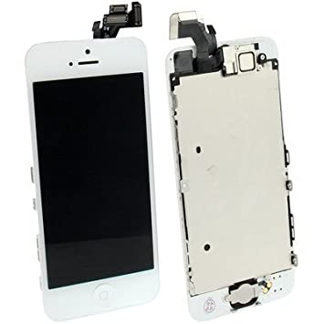 New 8 en 1-High Quality-Touch Pad LCD Frame Front LCD Camera Controller Button PCB Membrane Flex Cable Middle Button iron Board of Set with Full LCD Screen Digitizer Assembly for iPhone 5 (White)
