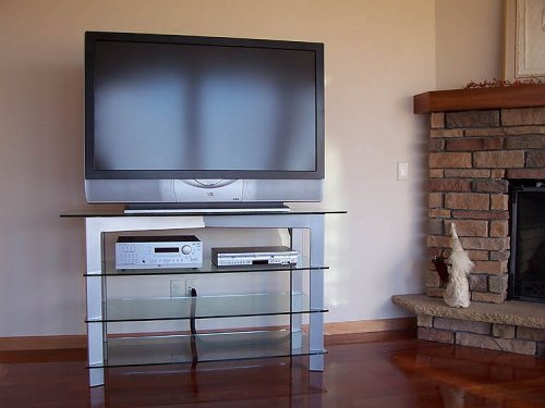 Diamond Collection D-5034 Audio Video Tv Stand (Silver Finish)