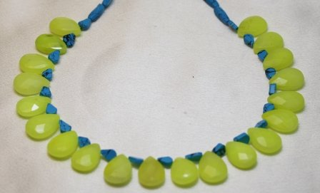 Turquoise Necklaces Quartz Tear Drops with Turquoise Beads Beaded Necklace 17