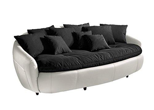 Cotta M010530 C310/H350 Modernes Megasofa, Sitzkissen und Rückenkissen 238 x 140 cm, Strukturstoff schwarz, Korpus in weichem Kunstleder weiß thumbnail
