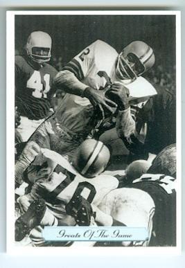 Jim Brown football card (Cleveland Browns Dirty Dozen Fireball Running Man) 1992 AW #271 Greats of Game