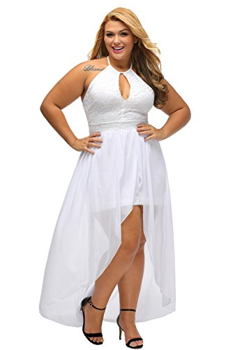 Lalagen women 39 s plus size halter white lace wedding party for Plus size party dresses for weddings in india
