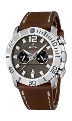 Festina F16614/3 - Reloj analógico de cuarzo para hombre, correa de cuero color negro (cronómetro)