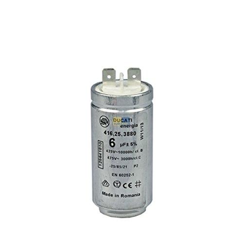 Condensateur Moteur de condensateur de démarrage 6µF UF 425/475V pour sèche-linge Electrolux AEG 125641810125641810/2Zanker Zanussi Arthur Martin