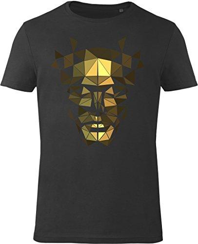 GOZOO Deus Ex T-shirt Uomo The Golden Mask 100% Cotone, Stampa di Alta Qualitá Nero L