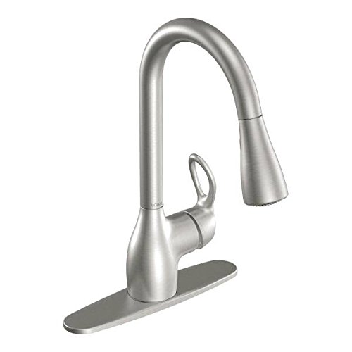 Moen CA87011SRS Single Handle Kitchen Faucet with Pullout Spray from the Kleo Collection, Spot Resist Stainless (Moen Kitchen Faucet No Touch compare prices)