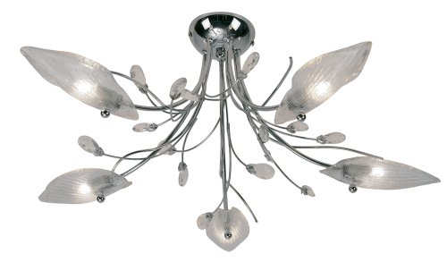 Cyprus 5 Light ceiling fitting for lower ceilings in polished chrome with clear glass leaf shades and dressed with crystal drops