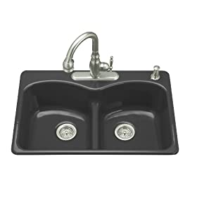 KOHLER K-6626-4-7 Langlade Smart Divide Self-Rimming Kitchen Sink, Black Black