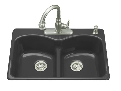 ... Smart Divide Self-Rimming Kitchen Sink, Black Black the cheap