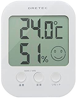 DRETEC デジタル温湿度計 「オプシス」 ホワイト O-230WT