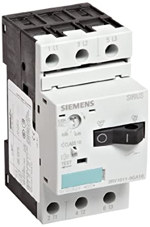 Siemens 3RV1011-0GA10 Motor Starter Protector, Screw Connection, 3RV101 Frame Size, 0.45-0.63 FLA Adjustment Range, 8.2A Instantaneous Short Circuit Release, 65kA UL Short Circuit Breaking Capacity at 480V