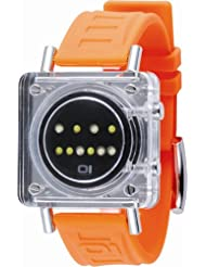 Montre The One Ice Cube avec cadran transparent, bracelet en PU orange et affichage binaire