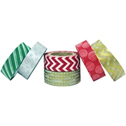 AllyDrew Festive Holiday Japanese Masking Tape Washi Tape, set of 6
