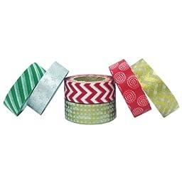 AllyDrew Festive Holiday Japanese Masking Tape Washi Tape, set of 6