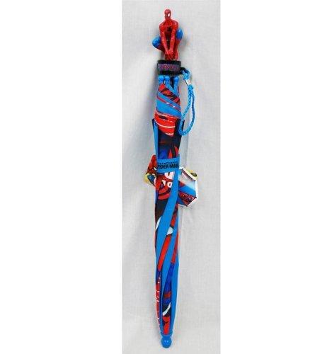 Marvel Spiderman Kid's Umbrella W/3d Spiderman Figurine Spiderhead Blue & Red