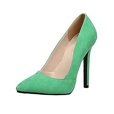 Akar Womens Suede Sexy Pointed Toe Low-cut Shoes Pumps Party Dress High Heels