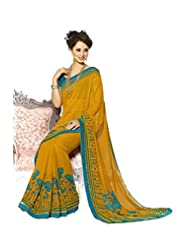 AG Lifestyle Yellow Georgette Saree With Unstitched Blouse SNS226A