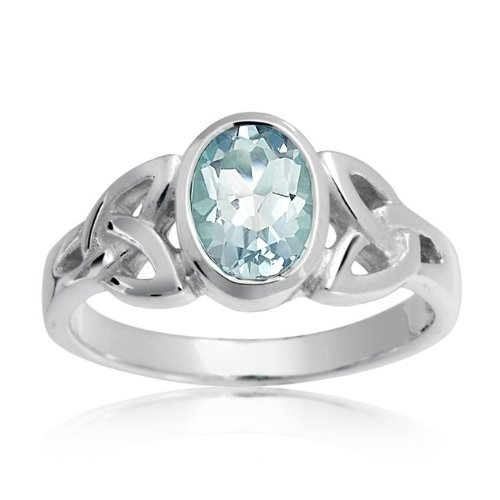 Bling Jewelry 925 Sterling Silver Celtic Knot Blue Topaz Ring