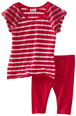 Splendid Littles Baby-girls Infant Stripe Mix Tunic And Legging Set, Azalea, 12-18 Months