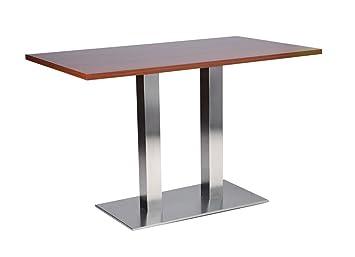 Daniella tavolo da pranzo in acciaio INOX–Doppia base rettangolare con top in noce 60x 120cm