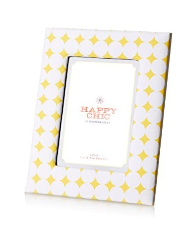 Happy Chic by Jonathan Adler Lola 5″ x 7″ Fabric Frame, Yellow/White