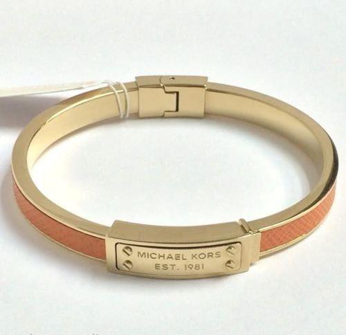 Michael Kors Mkj2787 Saffiano Golden & Orange Leather Logo Plaque Bangle Bracelet