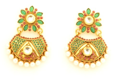 Fashion Balika Fashion Jewelry Gold-Plated Dangle & Drop Earring For Women Green-BFJER010 (Yellow)