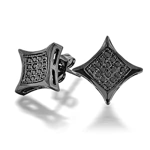 Bling Jewelry Black Onyx Color CZ Kite Micro Pave Mens Stud Earrings 7mm